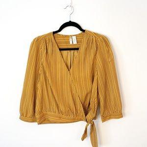 Japna Wrap Knot Mustard Yellow Striped Blouse Sz L